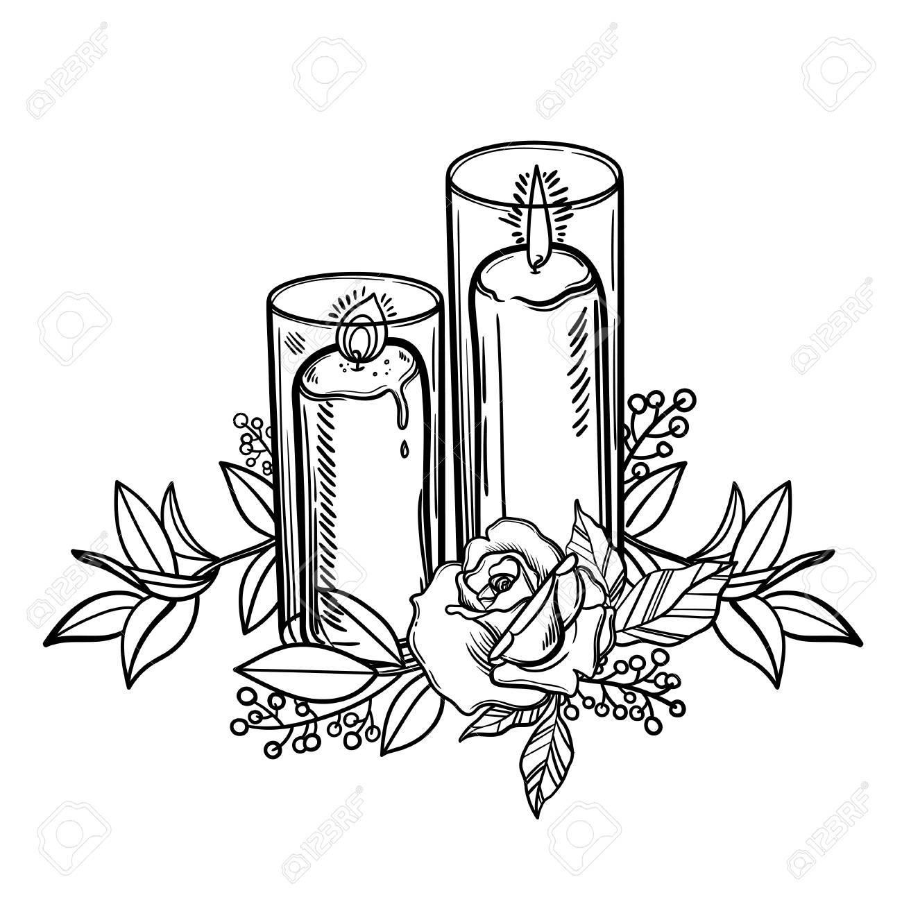 Bougie Brulante Vintage Et Fleur Rose Tatouage Romantique Bougie