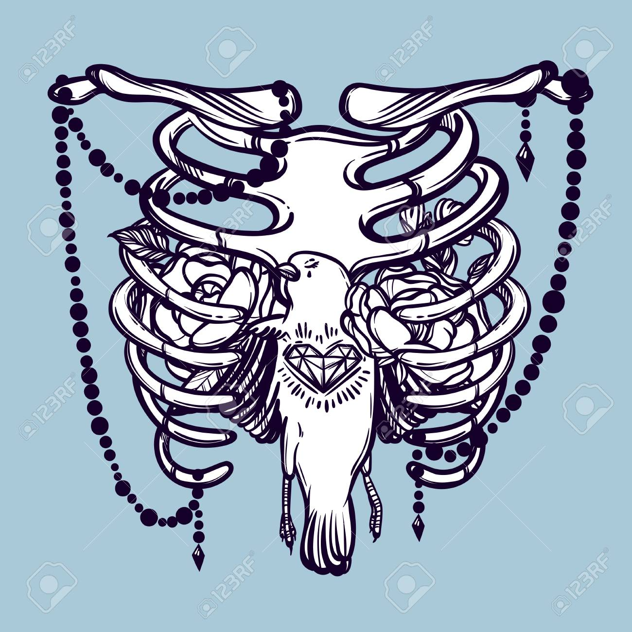 Costillas Esqueleticas Pajaros Y Flores Ilustracion De Vector