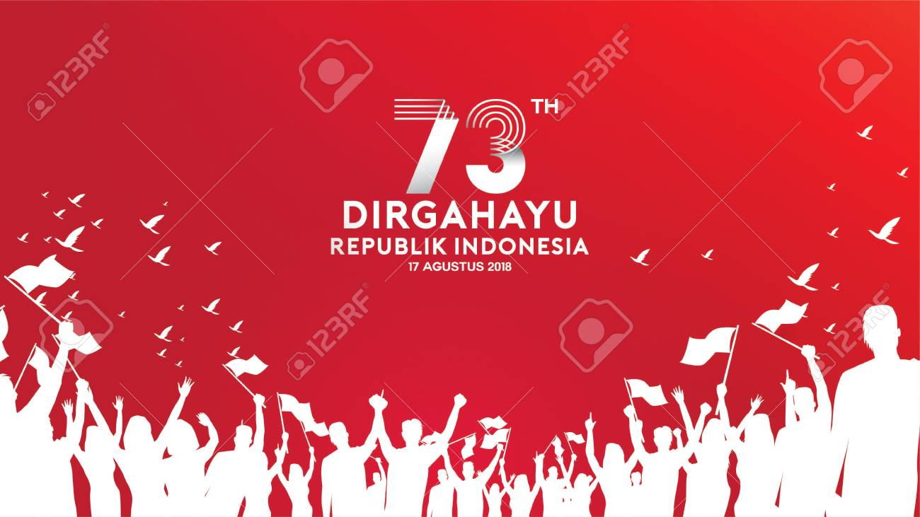 17 August. Indonesia Happy Independence Day greeting card, banner, and texture background logo - 112873569