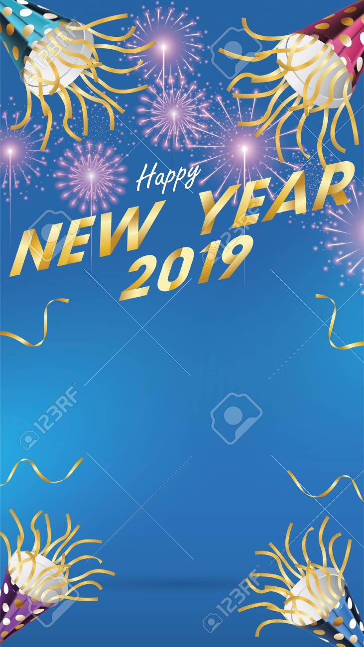 2019 Happy New Year Handmade Greeting Card With Fireworks