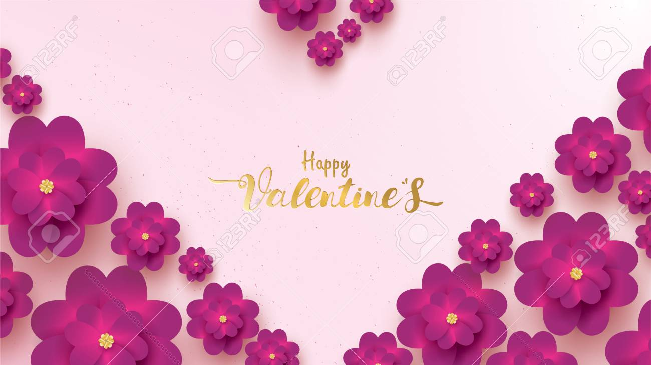 Happy Valentines Day greeting card with pink and purple flower rose. floral background concept suitable for copy space text Wallpaper, flyers, invitation, posters, brochure, banners - 126082697