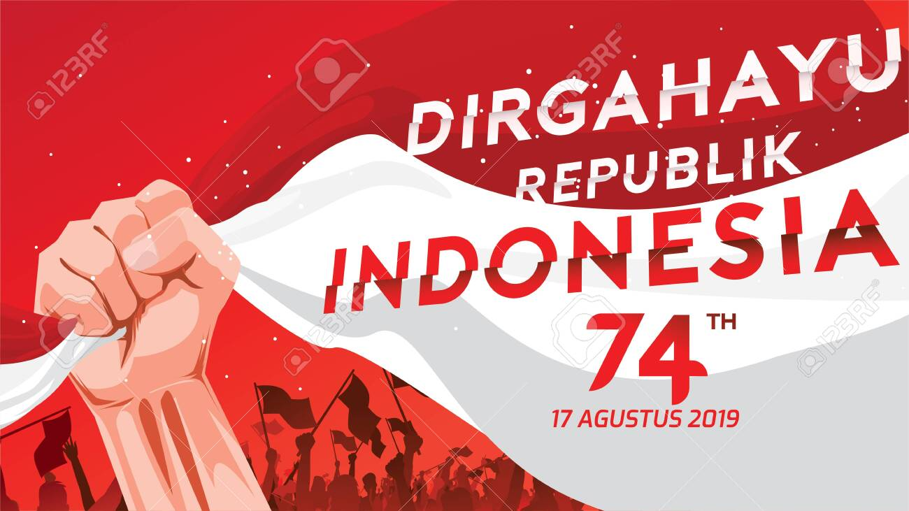 17 August. Indonesia Happy Independence Day greeting card with hands clenched, Spirit of freedom symbol. Use for banner, and background . - Vector - 125499799
