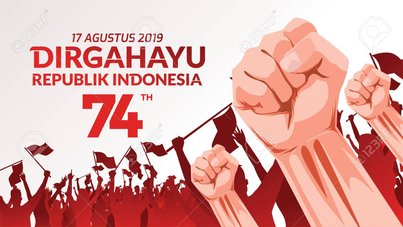 17 August. Indonesia Happy Independence Day greeting card with hands clenched, Spirit of freedom symbol. Use for banner, and background . - Vector - 125499868