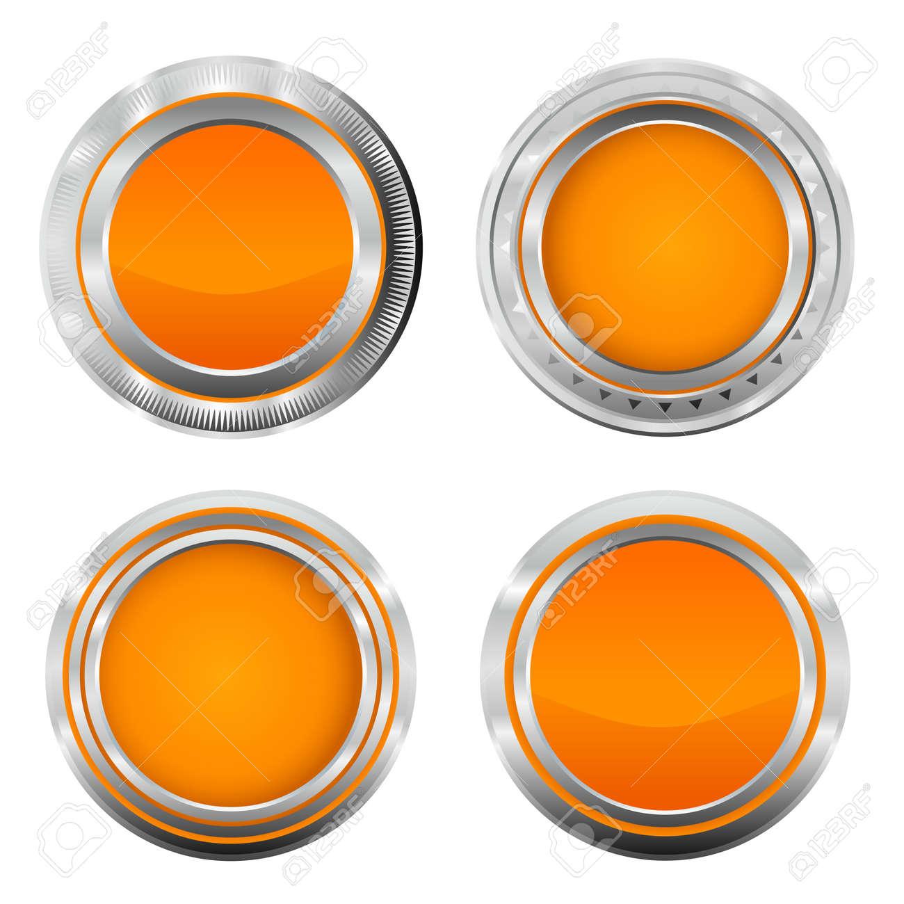 Realistic metallic orange badge buttons. Vector metallic button illustration from button series. - 156987566