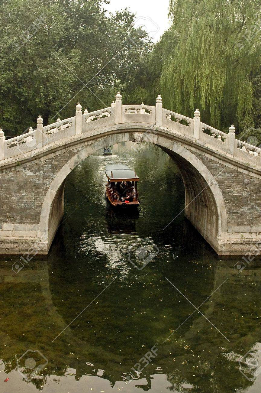 Traditional Chinese arc bridge over the canal in Summer palace, Beijing, China. Stock Photo - 5856766