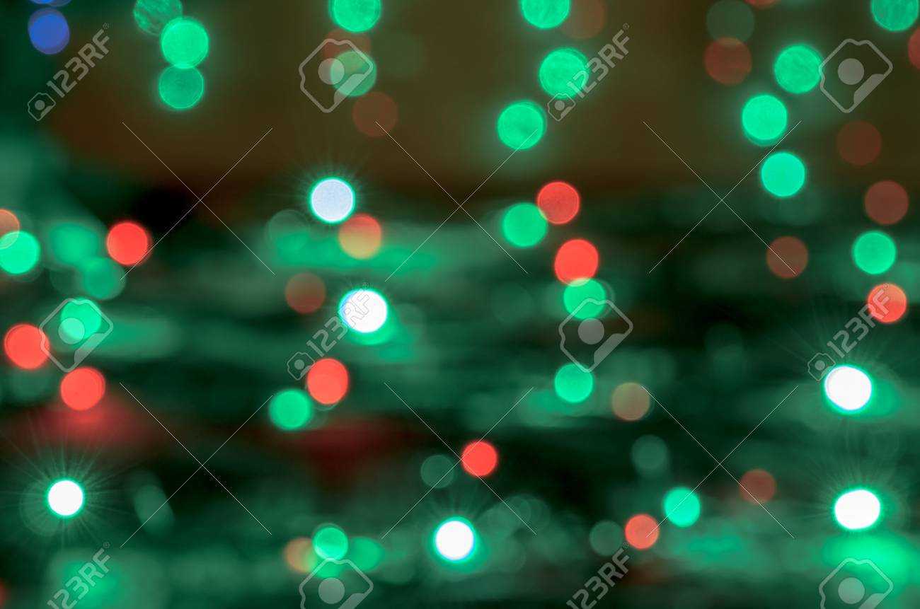 Christmas Green Color.Green Christmas Lights Texture Green And Red Texture With Predominance