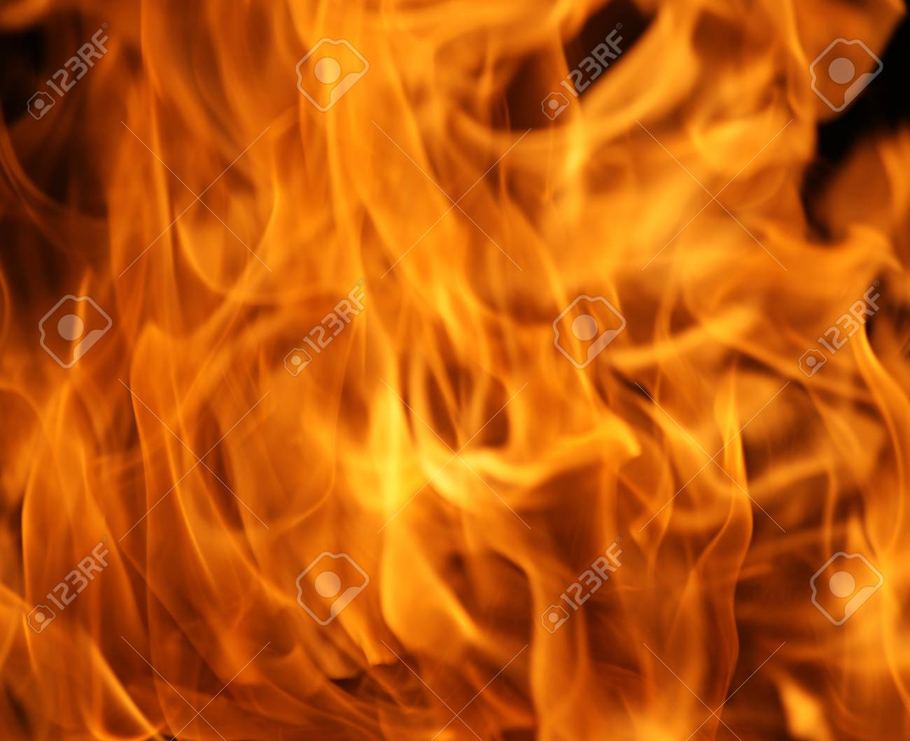 Fire flames isolated on a black background Stock Photo - 17107852