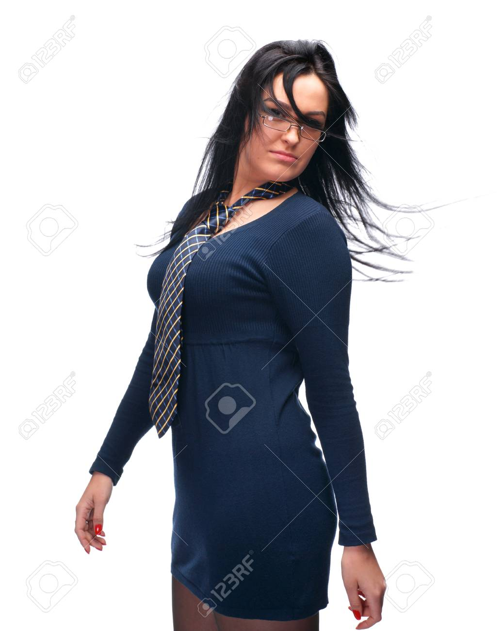 Beautiful young girl in glasses wearing a tie on a white background Stock Photo - 17221440