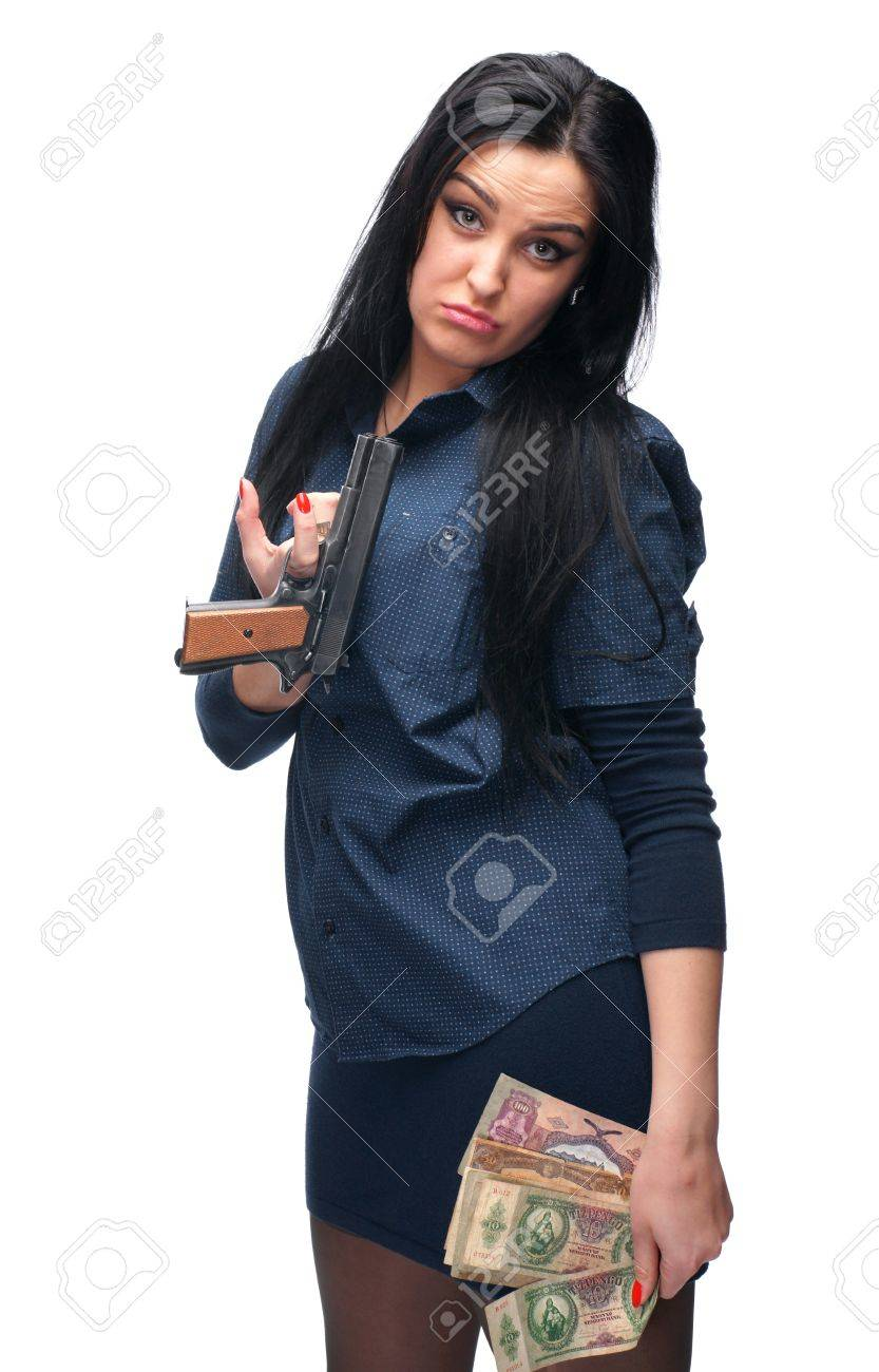 Young girl with pistol and old money on a white background Stock Photo - 17259993