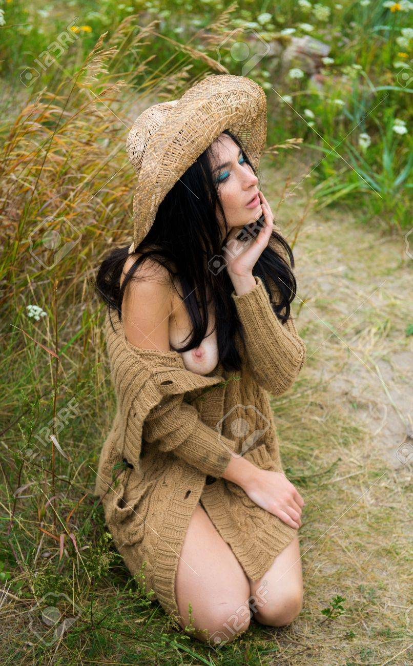 Emotional Nude Woman Straw Hat Stock Photos  Images    Pictures      Images Daily Mail