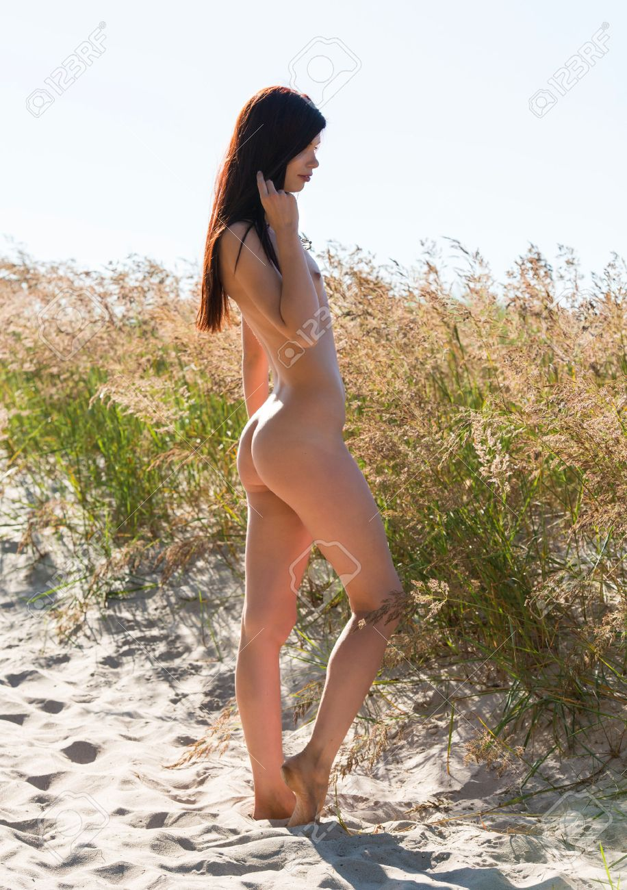 nude sandbeach Portrait of a young naked woman on a sandy beach Stock Photo - 22980018