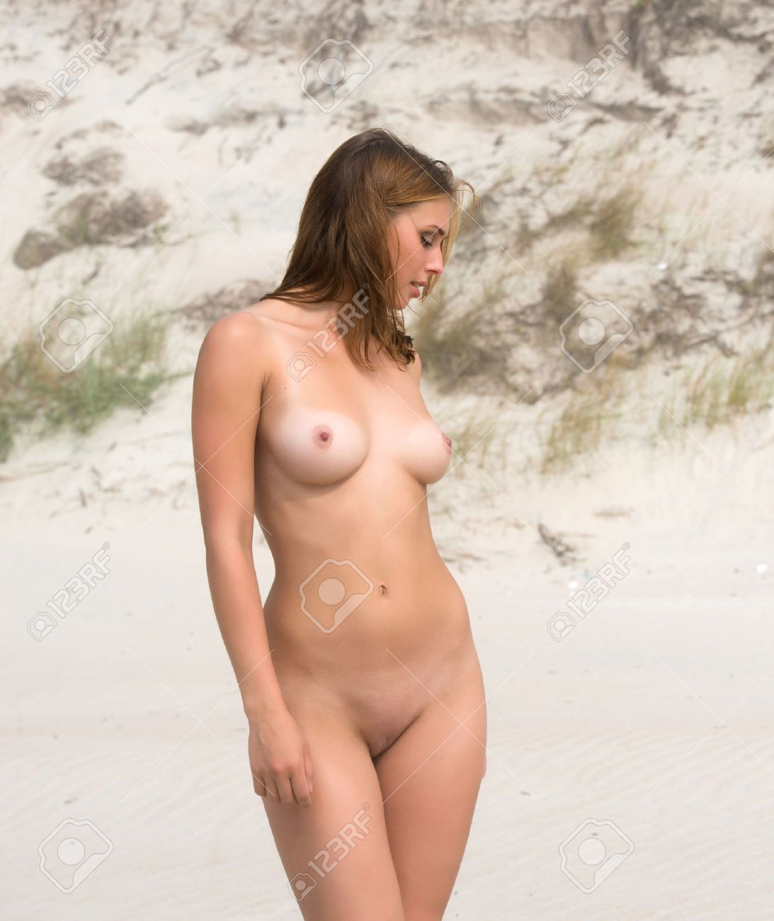 beautiful young naked posing on a foggy day stock photo, picture and