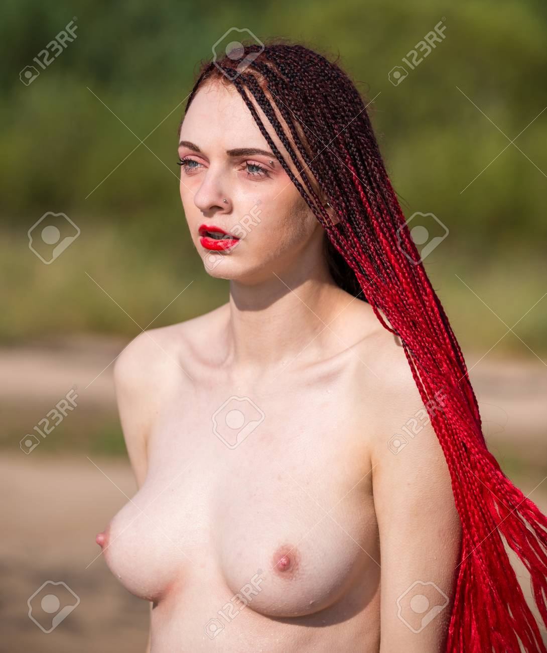 Beautiful Naked Young Woman Posing In The Sea Young Naked Woman