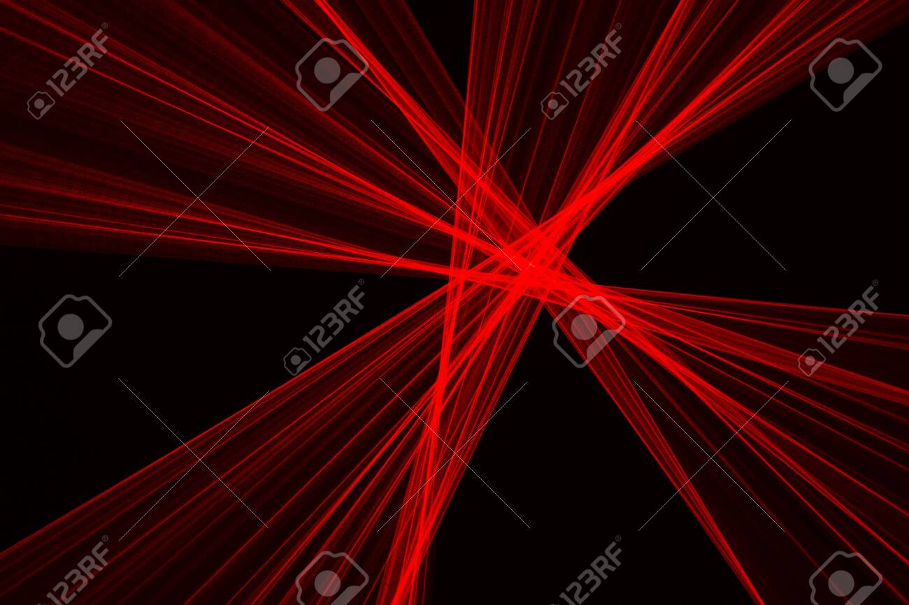 Abstract red lines drawn by light on a black background. Laser lines - 144345549