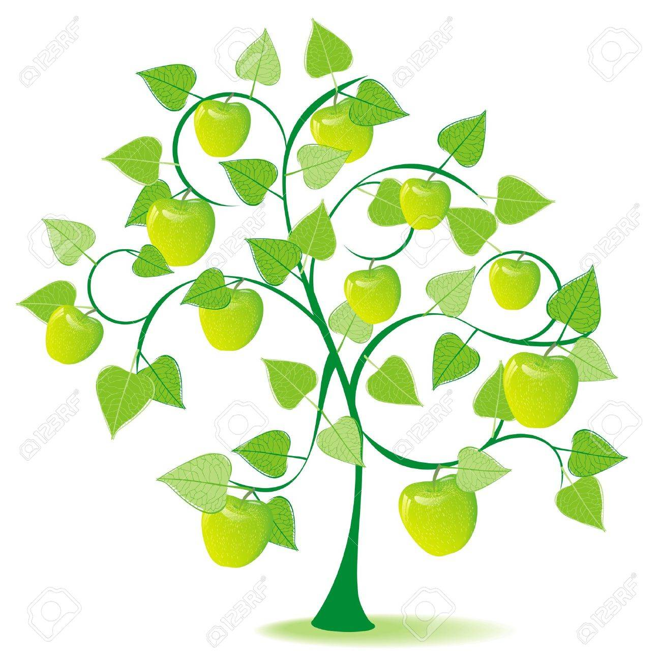 green apple tree clipart. abstract apple tree in season summer with green fruits stock vector - 10437004 clipart n