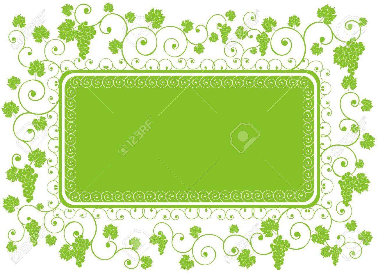 Grüne Landschaft Rahmen Verziert Trauben, Reben Und Abstrakten ...