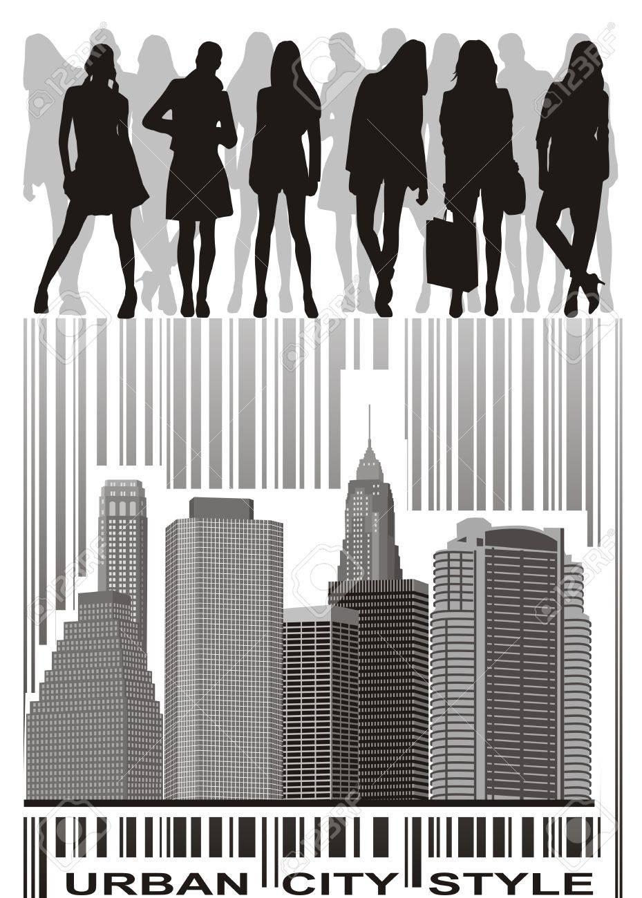 silhouettes of young people group on the bar code Stock Vector - 10932065