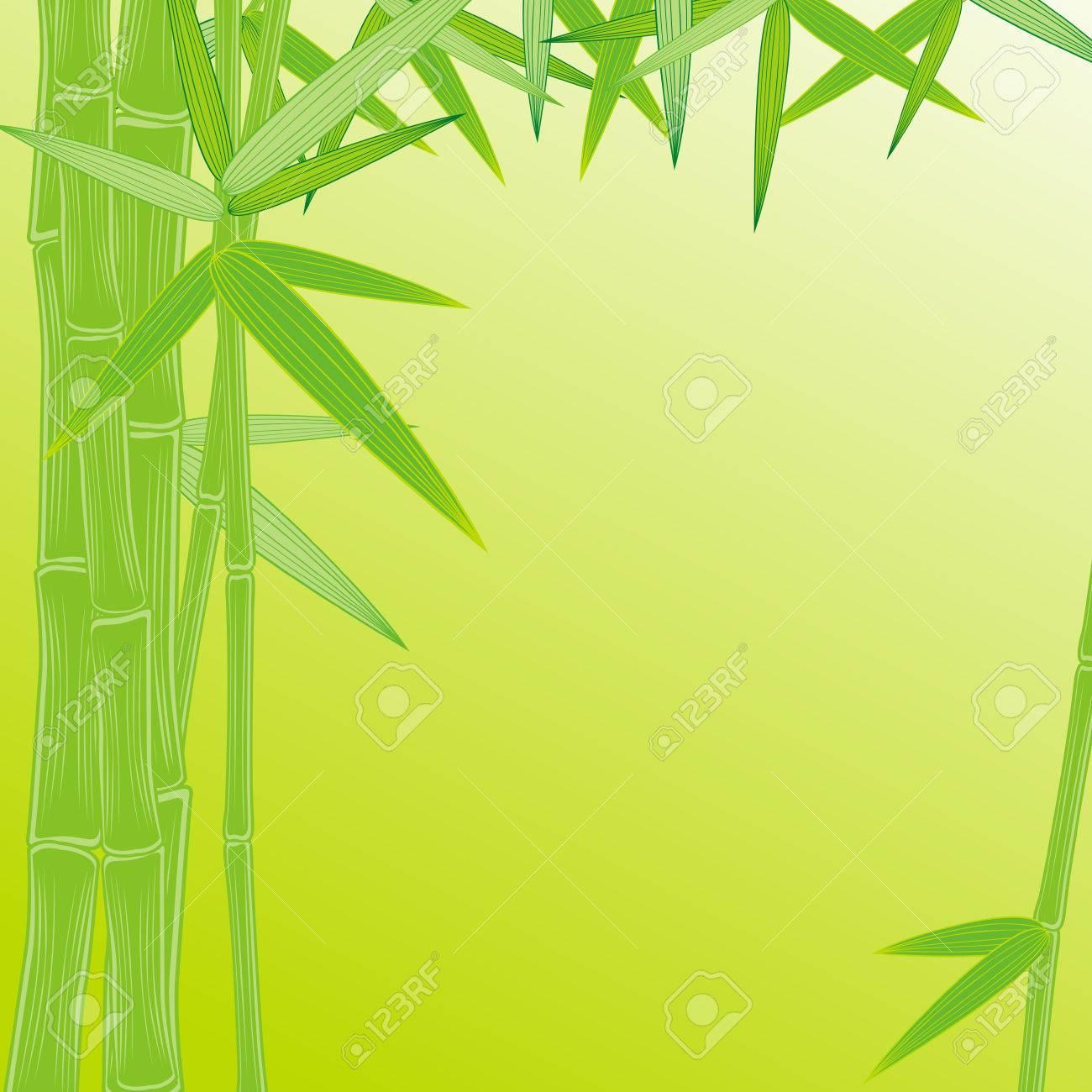 Sommer Bambus-Rahmen Auf Grünem Hintergrund Lizenzfrei Nutzbare ...