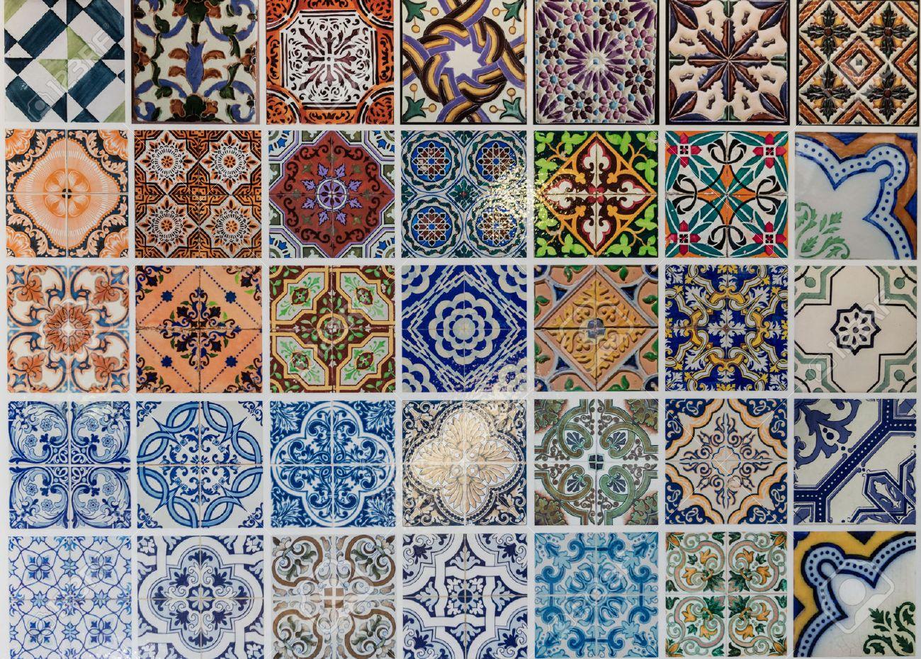 Tiles ceramic patterns from Lisbon, Portugal. - 51933113