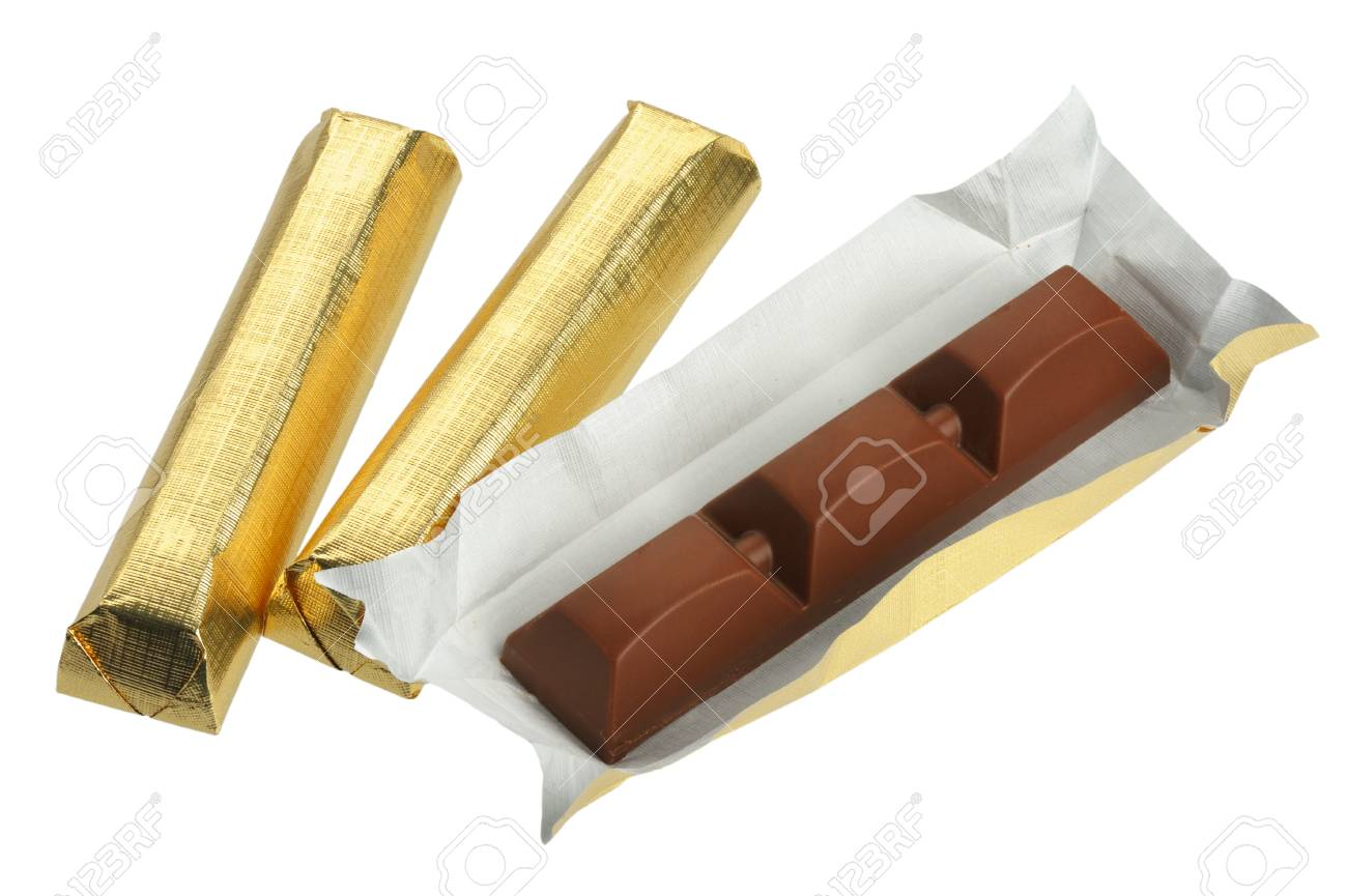 Bars of chocolate in gold foil, isolated on a white background Stock Photo - 8722998