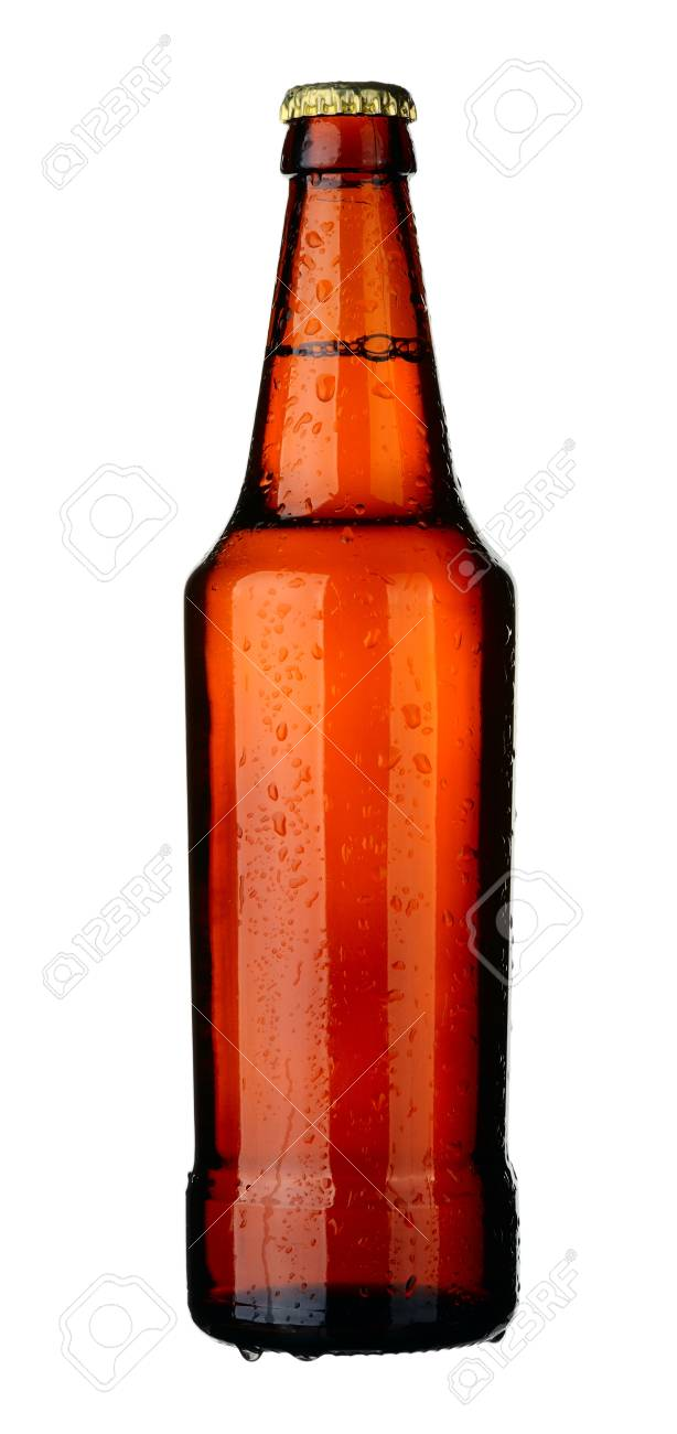 Bottle of lager beer from brown glass, isolated on a white background. Stock Photo - 8722991
