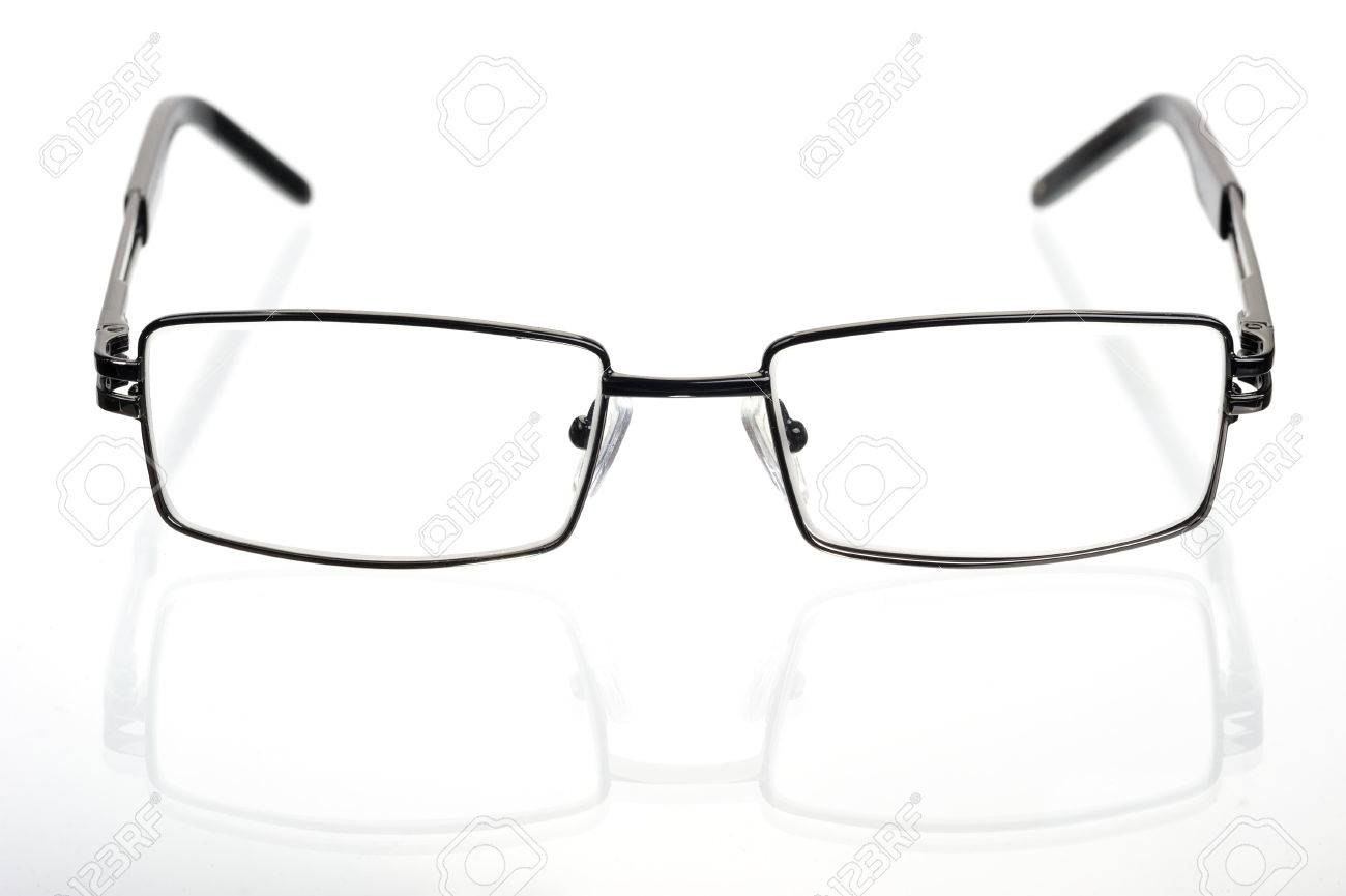 Rectangular Glasses In A Thin Metal Frame On A White Background ...