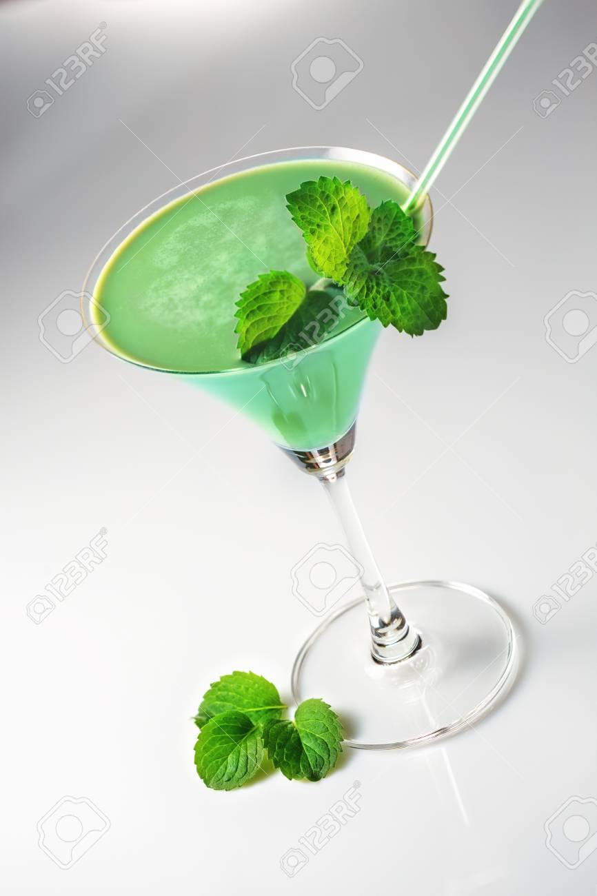Grasshopper cocktail with mint on white background