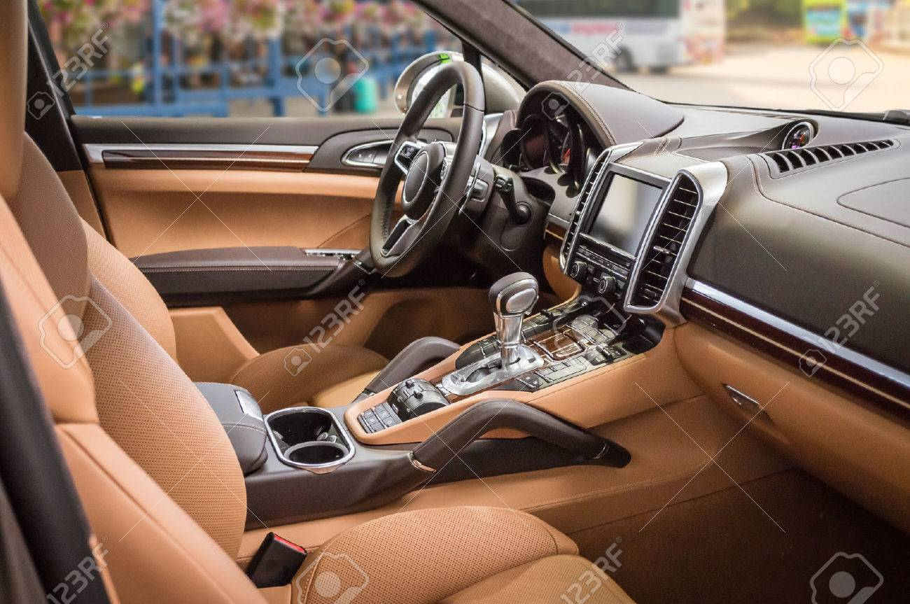 Luxury And Modern Brown Car Interior Stock Photo Picture And
