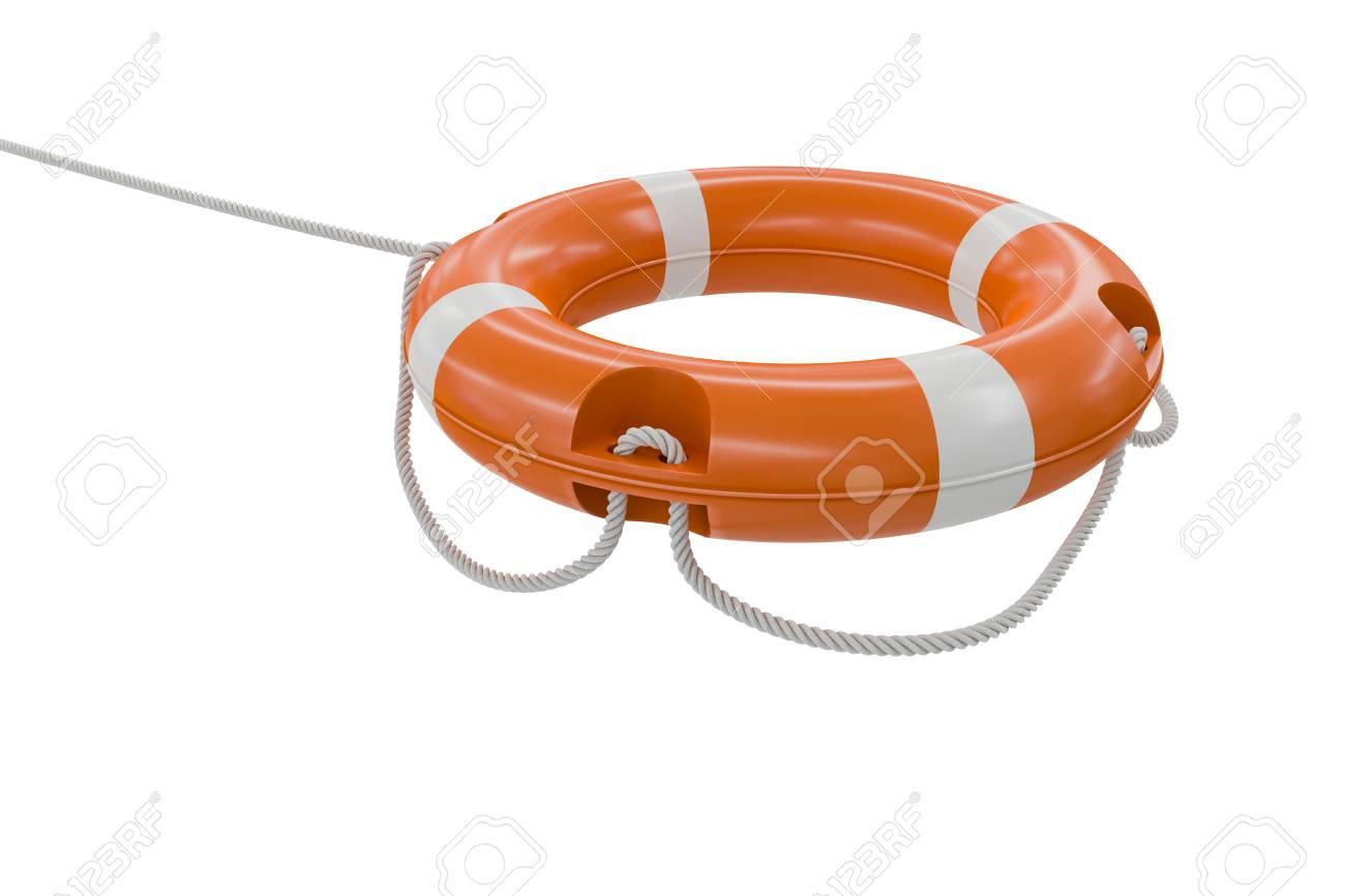 3 D にはオレンジ色の救命浮き輪のイラストが表示されます白い背景上