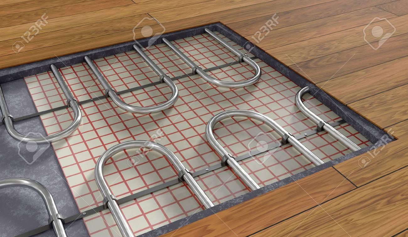 Holzfußboden Fußbodenheizung ~ Fußbodenheizung unter holzboden d gerenderte darstellung