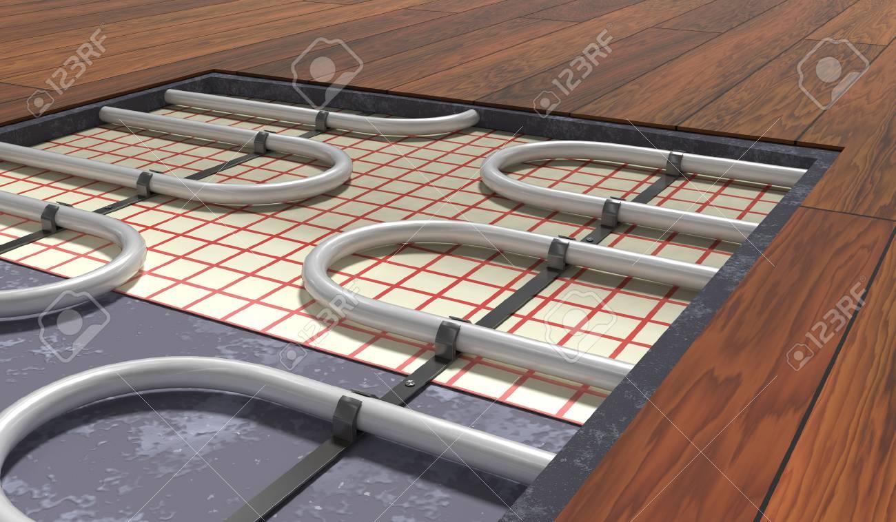 Holzboden Und Fußbodenheizung ~ Fußbodenheizung unter holzboden d gerenderte darstellung