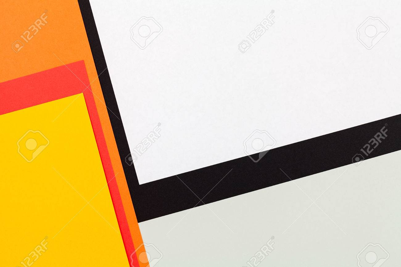 Color Papers Geometry Flat Composition Background With Black.. Stock ...