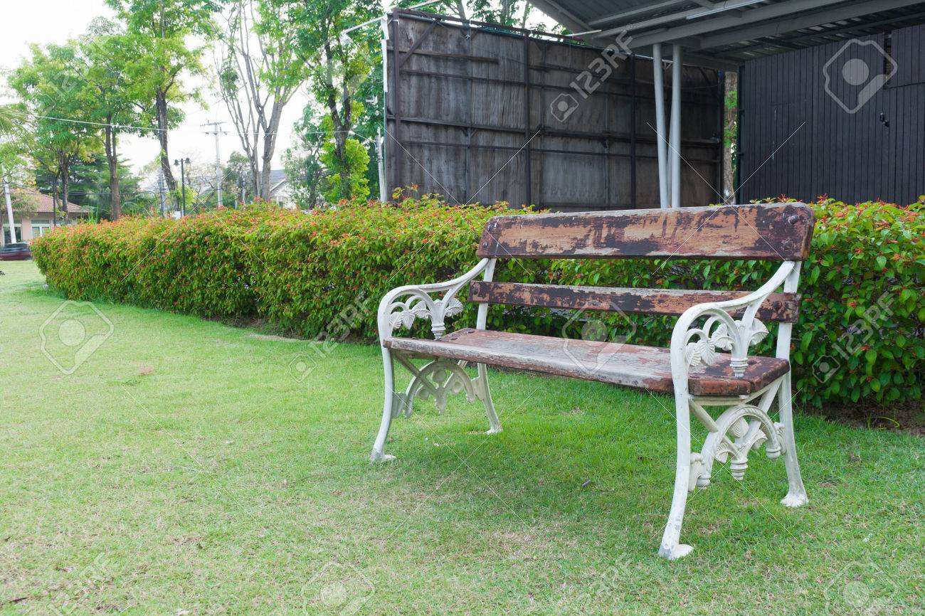 Old Wood Bench In Garden Background Stock Photo   38361529