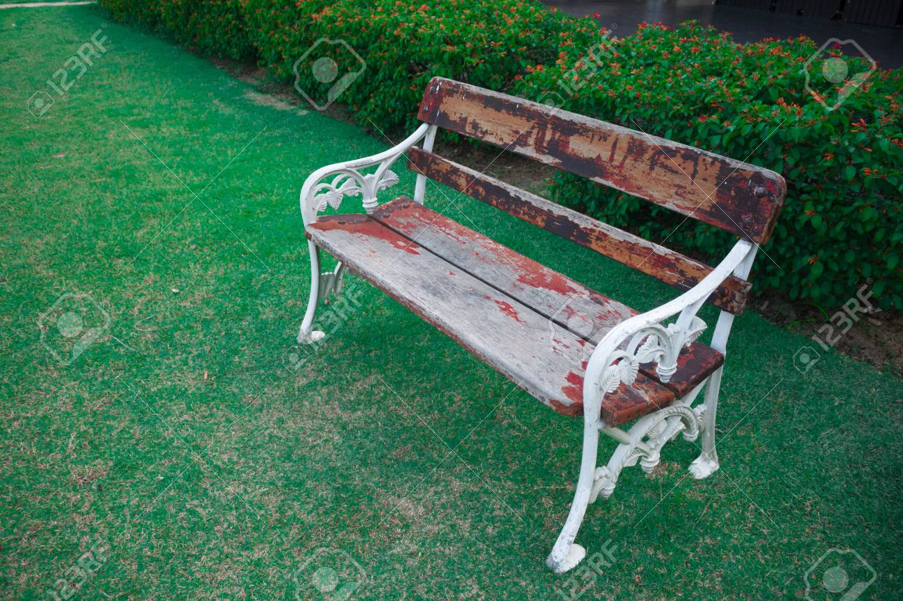 Old Wood Bench In Garden Background Stock Photo   38361468
