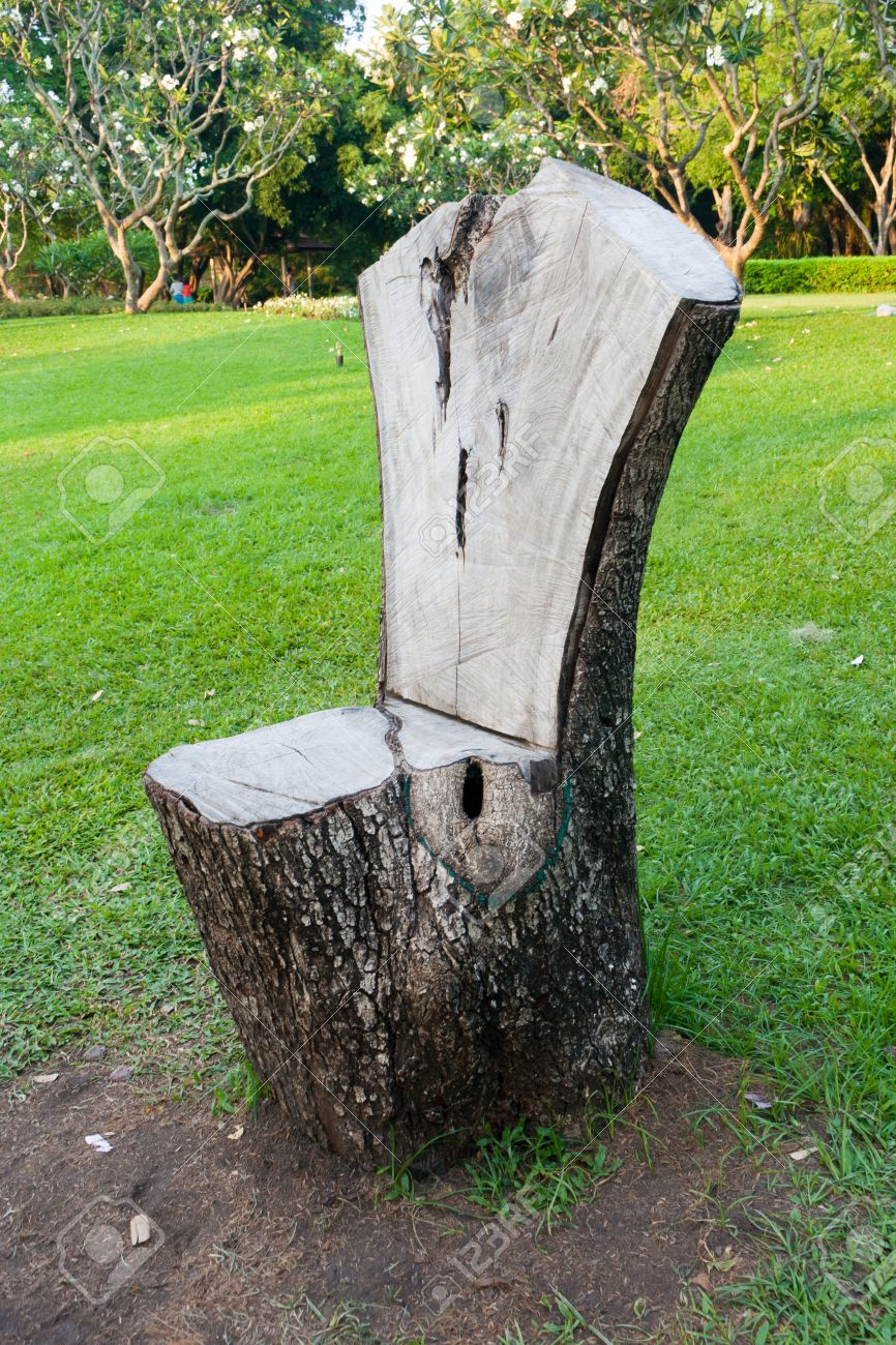 Nature chair wooden on grass in the garden background Stock Photo - 39203946 & Nature Chair Wooden On Grass In The Garden Background Stock Photo ...