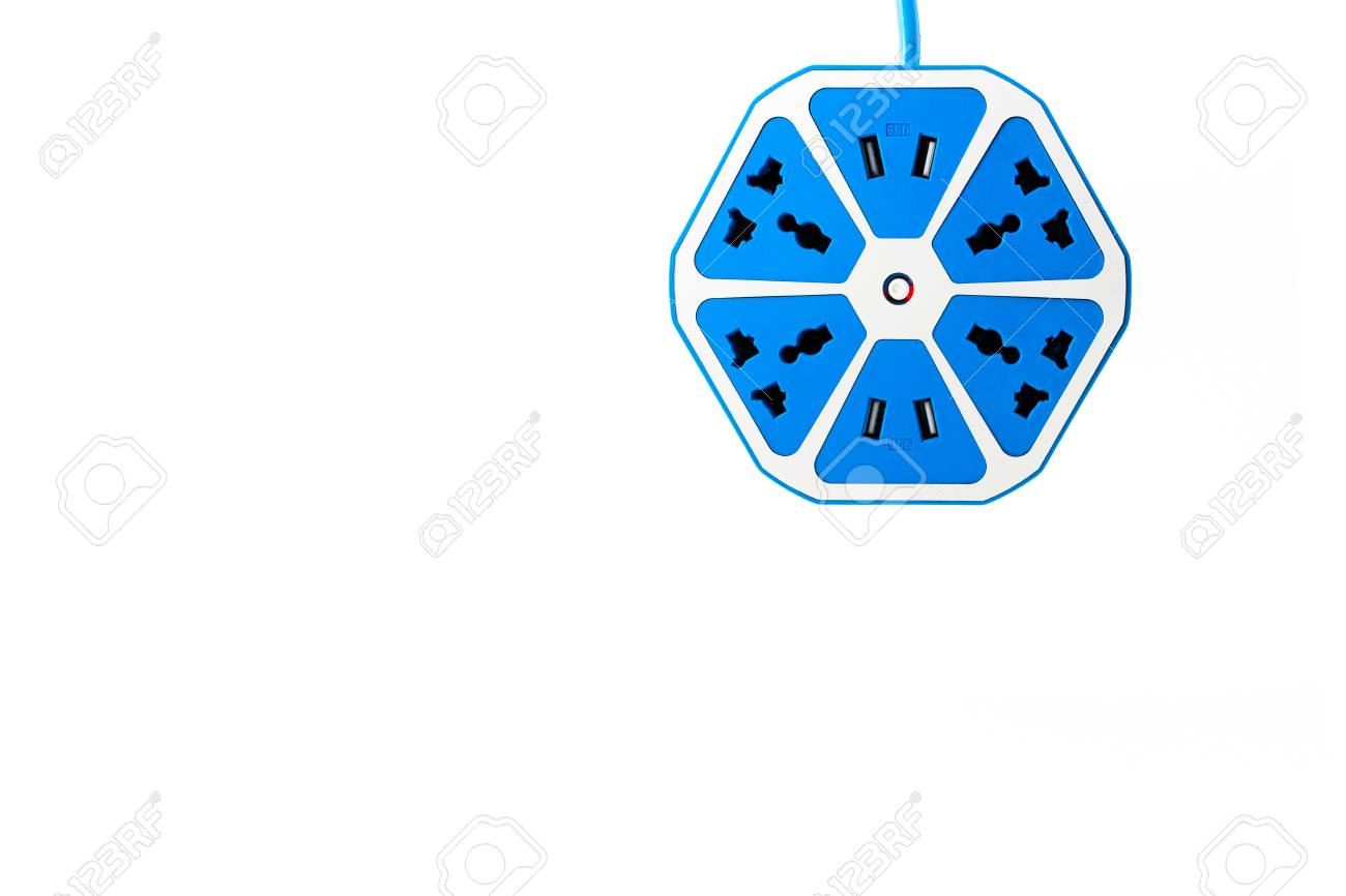 Blue Hexagon Electric Outlet With USB Socket Port Is Hanging.. Stock on bluetooth wiring diagram, usb lighting diagram, parallel outlet wiring diagram, phone outlet wiring diagram, power outlet wiring diagram, telephone outlet wiring diagram,