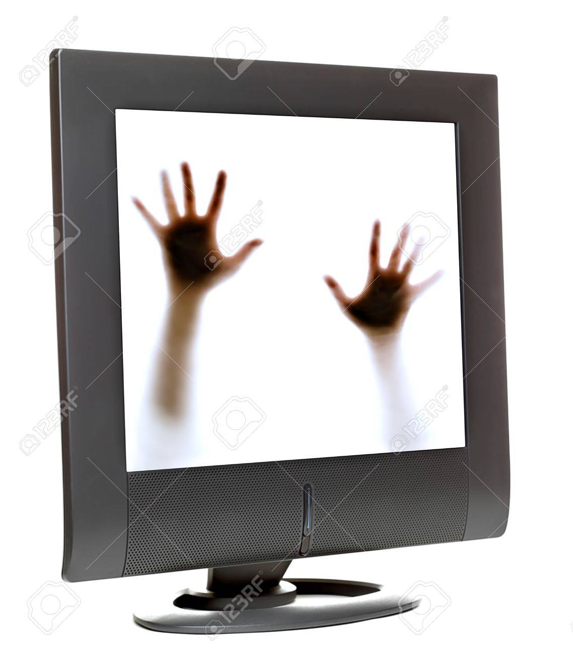 Person trying to escape from inside a computer monitor Stock Photo - 2110719
