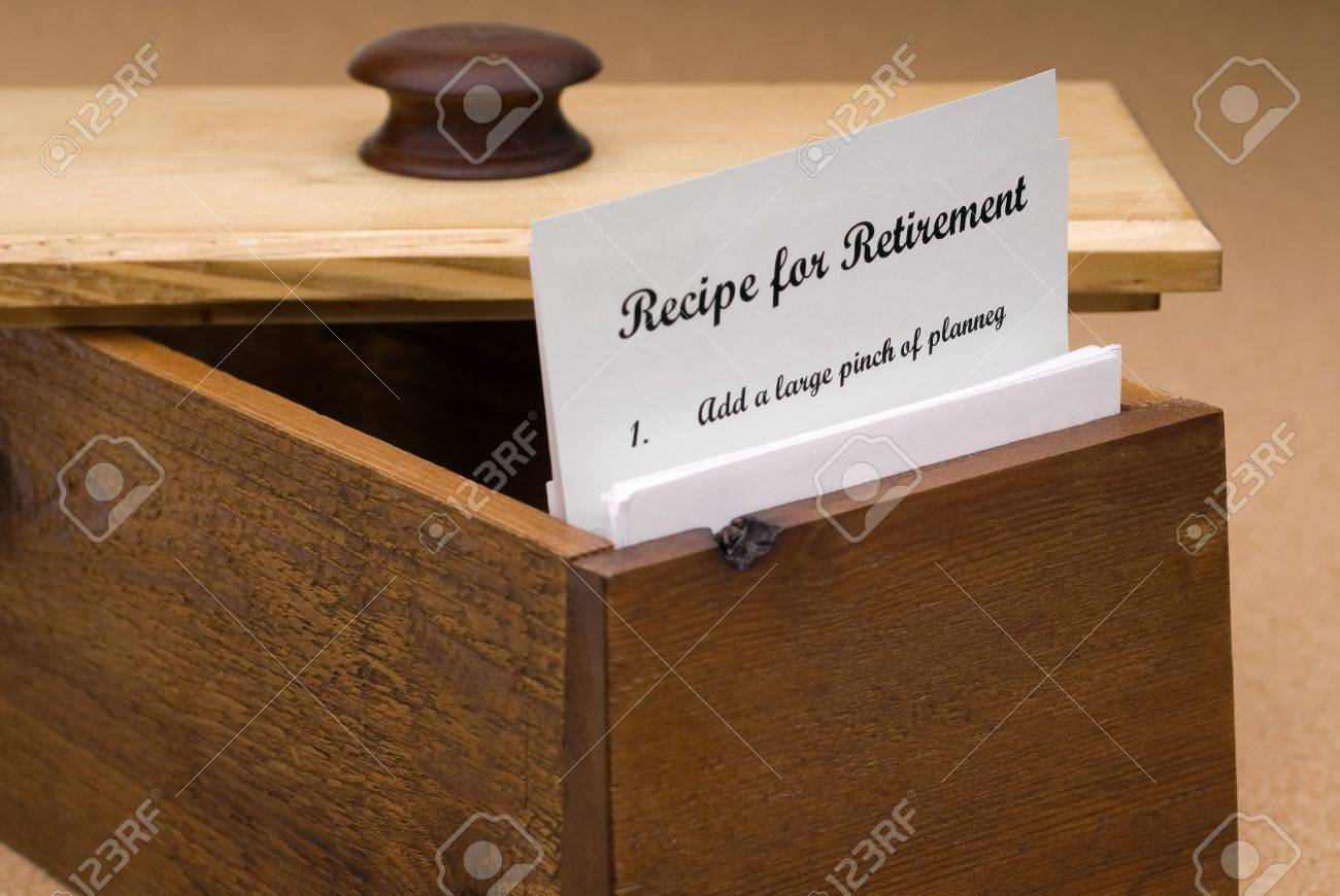 A Concept Of A Recipe For Retirement Contained On A Recipe Card