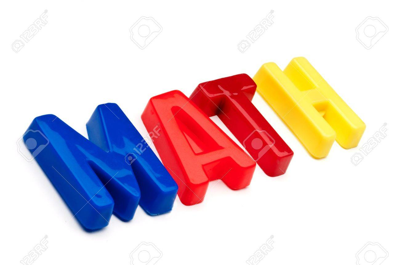 stock photo the word math spelled out in plastic toy letters