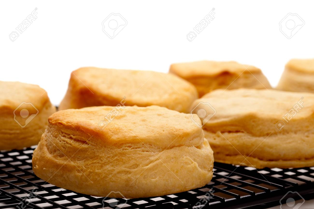 Horizontal close up of fresh baked biscuits on white Stock Photo - 6722335