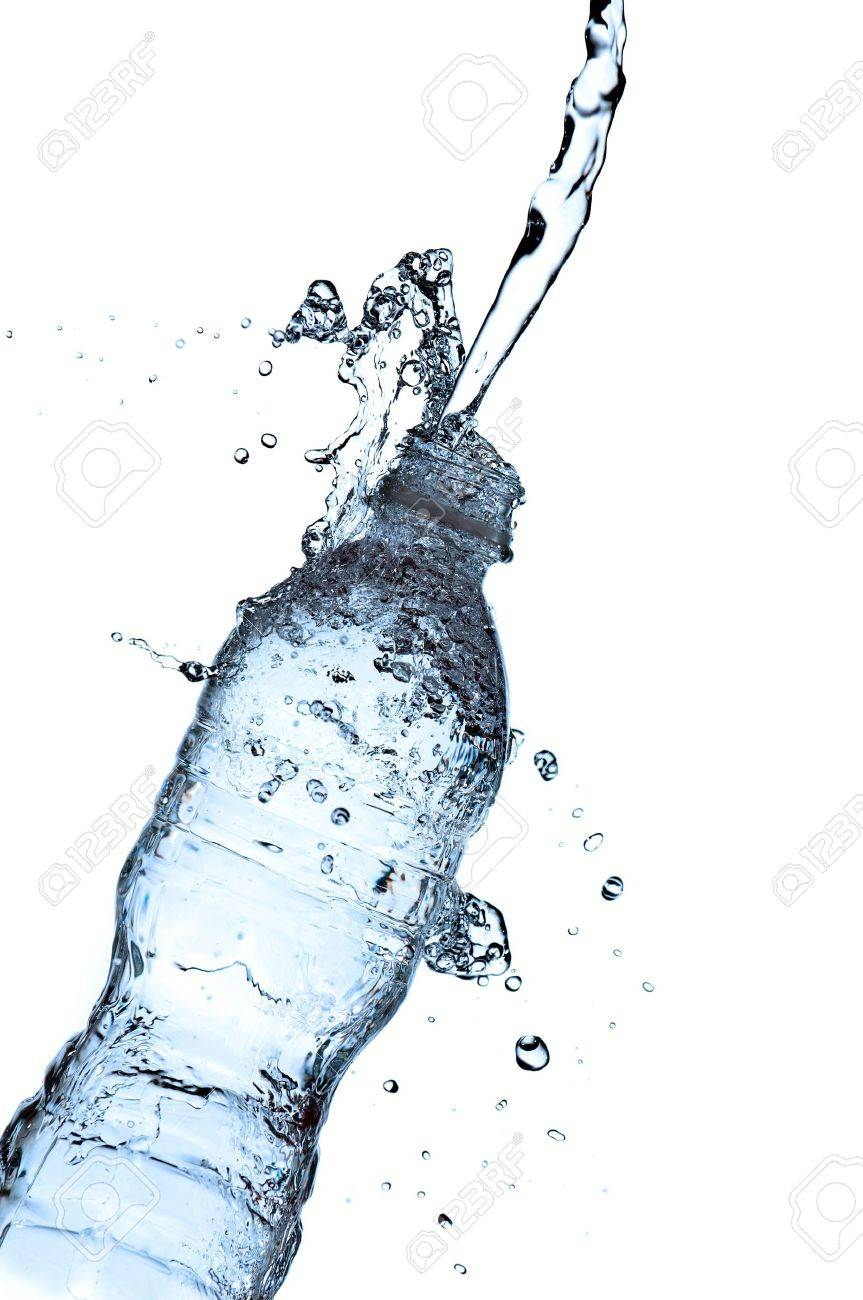 water spalshing on a water bottle with blue tint Stock Photo - 6900898