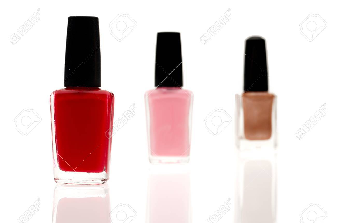 Shallow focus image of three nail polish containers Stock Photo - 6900895