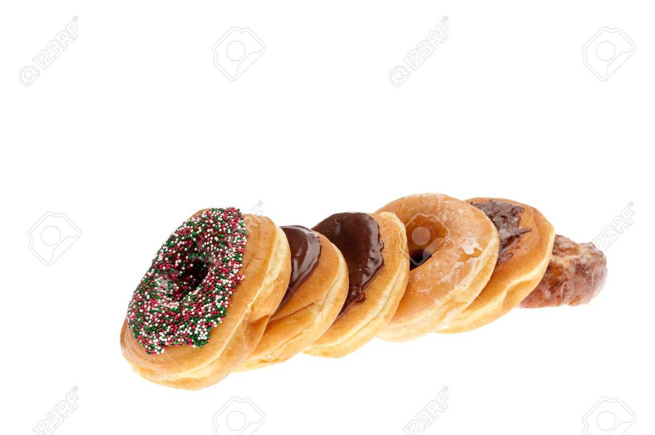 Horizontal image of a stack of fresh donuts isolated on white Stock Photo - 7152679