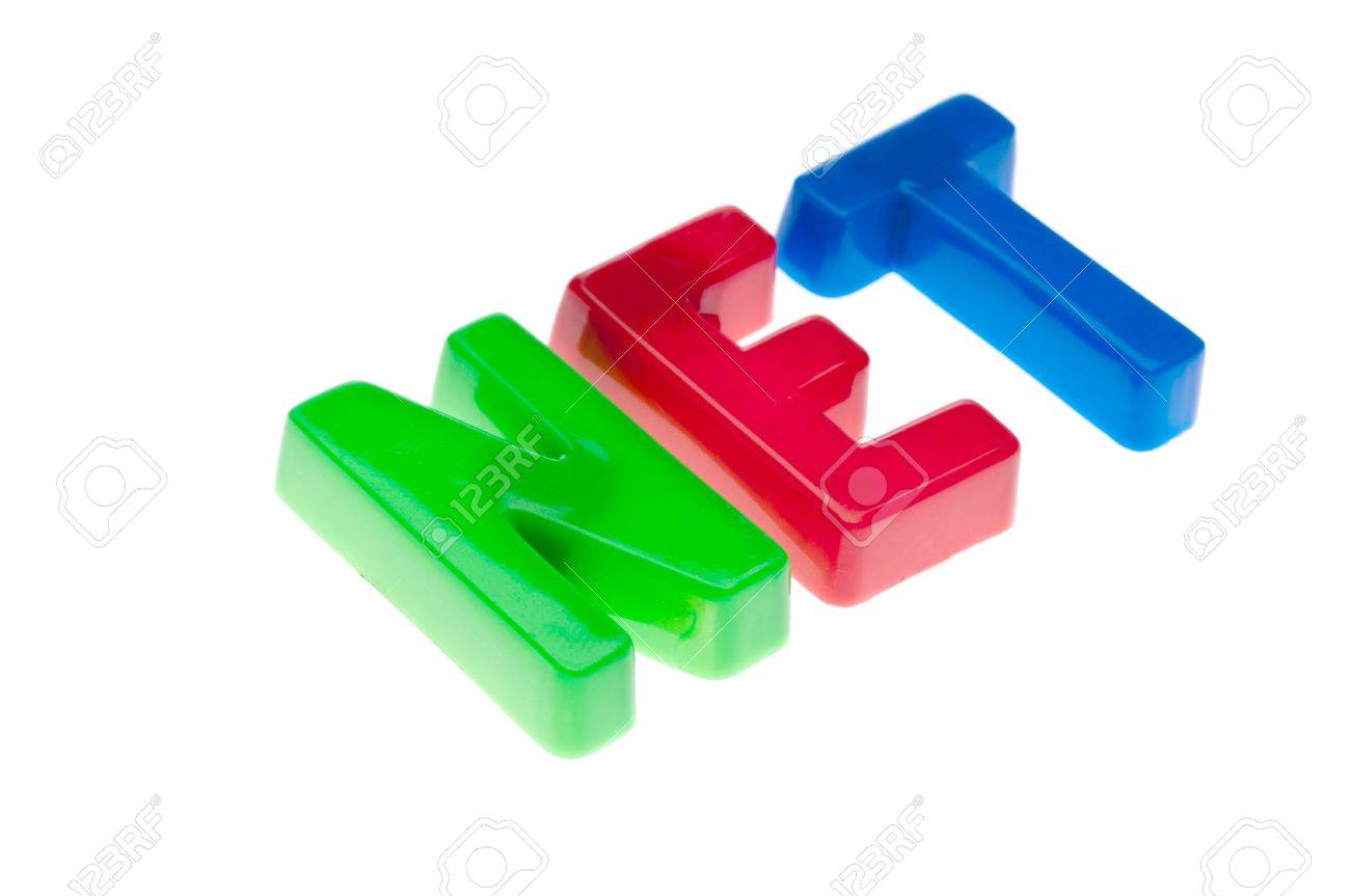 Plastic toy magnetic letters spelling NET - online education Stock Photo - 7152670