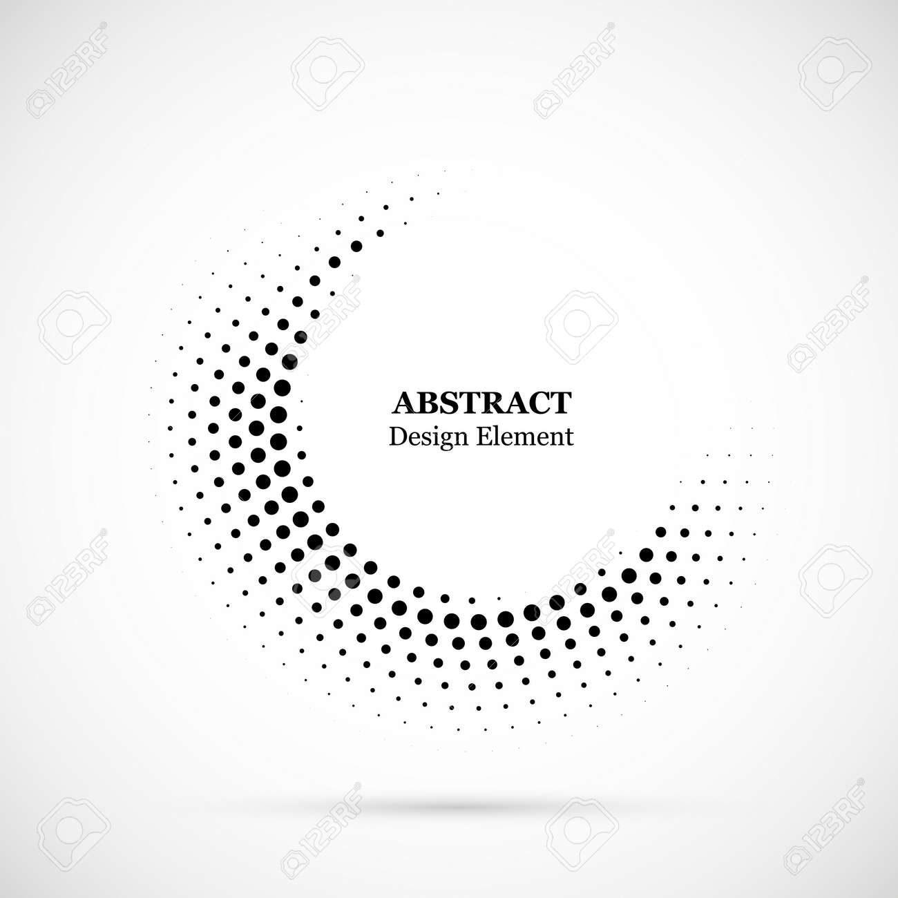 Halftone dotted background circularly distributed. Halftone effect vector pattern. Circle dots isolated on the white background. - 125974711