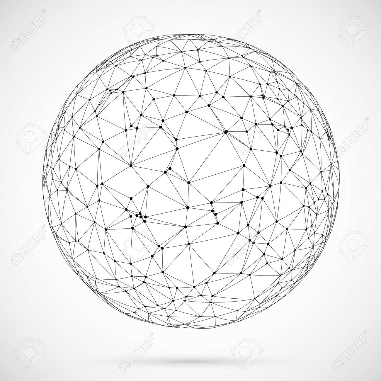 Big data icon. Artificial intelligence. Global network concept. Abstract geometric spherical shape with triangular shapes.Wireframe dotted sphere. - 125974767