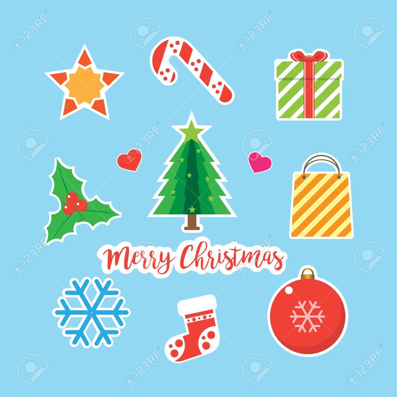 Christmas Ornaments Vector.Merry Christmas Ornaments Vector Illustration