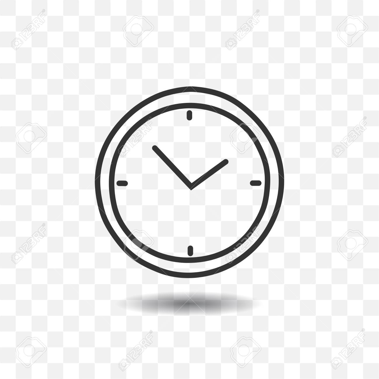 clock timer icon with shadow on transparent background royalty free