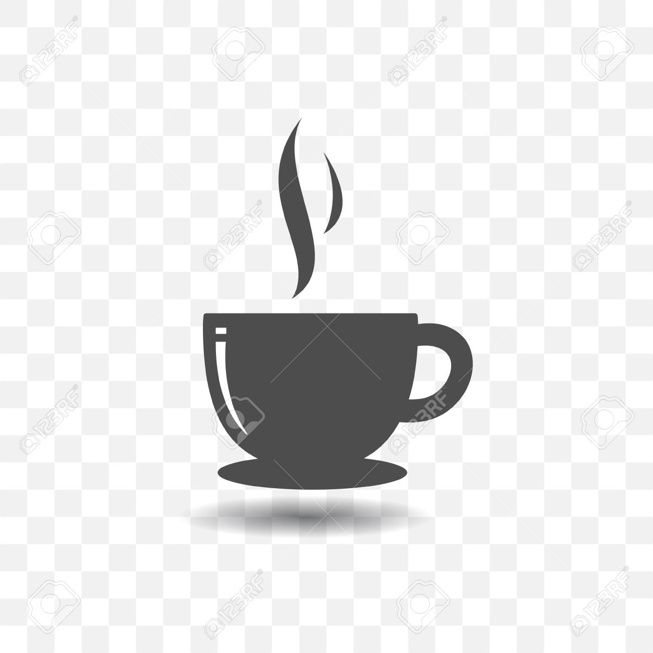 Coffee Cup Icon Simple Vector With Shadow On Transparent Background Stock