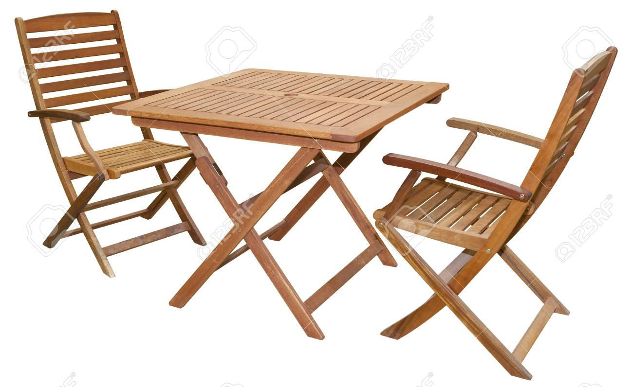 - Set Of Folding Wooden Garden Furniture - Table And Chairs Isolated